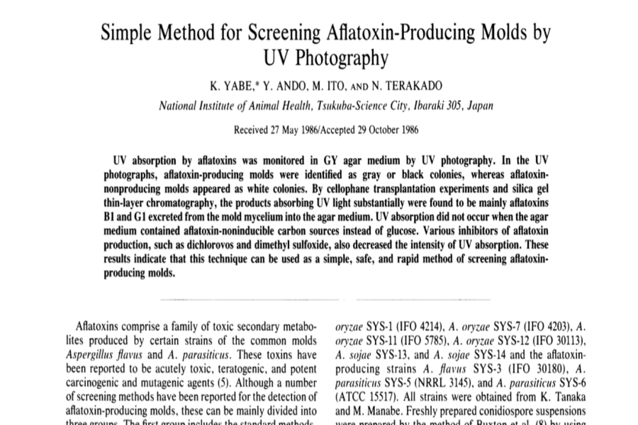Simple Method for Screening Aflatoxin Producing Molds by UV Photography