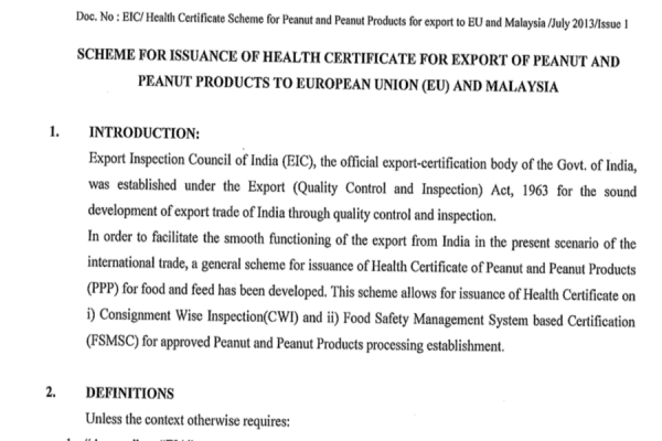 Issuance of Health certificate for export of Peanut and Peanut products