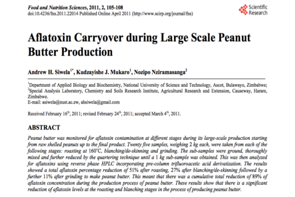 Aflatoxin Carryover during Large Scale Peanut  Butter Production