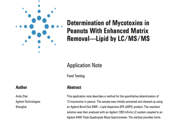 Determination of Mycotoxins in  Peanuts With Enhanced Matrix  Removal