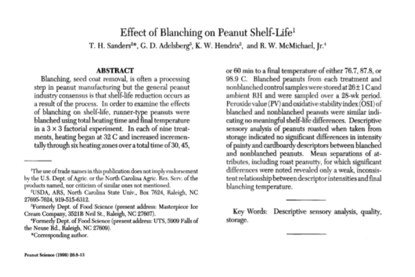 Effect of Blanching  on  Peanut Shelf Life