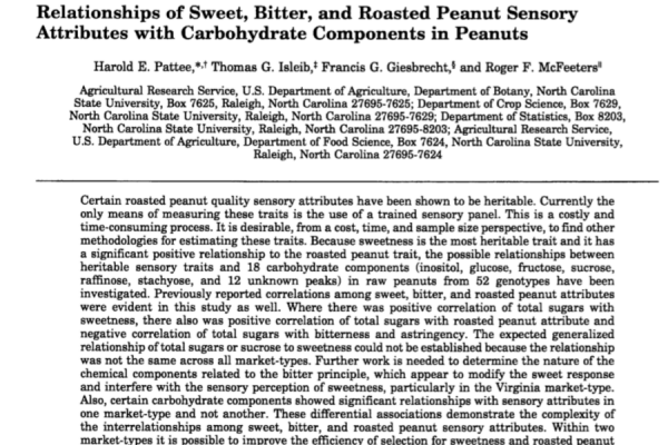 Relationships of sweet bitter, and roasted peanut sensory attributes with corbohydrate components in