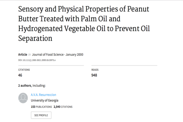 Sensory and Physical Properties of Peanut Butter Treated with Palm Oil and Hydrogenated Vegetable Oi
